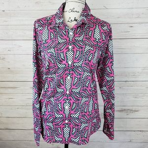 J. Crew The Perfect Shirt Retro Pattern Button Up